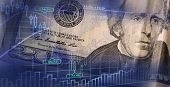 Finance Background With Money And With Stock Chart. Finance Concept. Money On The Background Of The  poster
