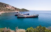 two industrial ship moored in a greek bay