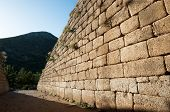 Cyclopean wall of The Treasury of Atreus or Tomb of Agamemnon at ancient Mycenae characterized by t
