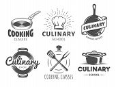 Culinary School Logos. Vector Badges For Cooking Classes, Workshops And Courses. Set Of Vintage Mono poster