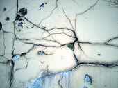 Grungy Wall With Large Crack Cement Floor Texture,cement Large Crack For Background. Cement Surface  poster