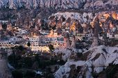 light of Goreme village in the twilight, Cappadocia, Turkey