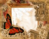 picture of moulin rouge  - Grunge background with motives of Paris and France - JPG