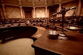 Symbol Of Law And Justice In The Empty Courtroom, Law And Justice Concept. poster