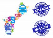 Best Shopping Composition Of Mosaic Map Of Guam Island And Scratched Seals. Vector Blue Seals With S poster