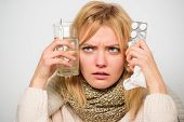 Girl Hold Glass Water Tablets And Thermometer Light Background Close Up. Get Rid Of Flu. Getting Fas poster