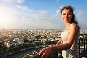 Girl On Viewing Platform Of Eiffel Tower. Young Beautiful Woman On Famous Eiffel Tower. Portrait Of  poster