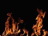 Fire wall on black background
