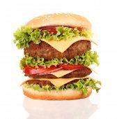 Delicious hamburger isolated on white background
