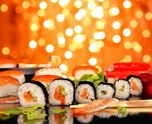 Delicious sushi with shiny blur background