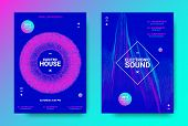 Electronic Music Flyer Concept. House Music Festival Promotion. Vector Equalizer Design. Abstract Wa poster