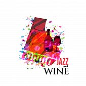 Jazz Music And Wine Background Flat Vector Illustration. Party Flyer, Jazz Music Club, Wine Tasting  poster