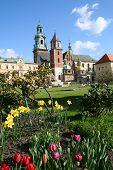 Wawel Castle In Blooming Flowers. Krakow. Poland.