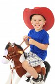 picture of baby cowboy  - Little cowboy in a large red hat - JPG