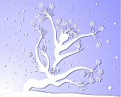 Winter tree woman silhuette