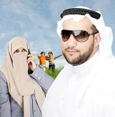Arabic Couple muslim Looking at camera
