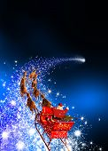 Santa Claus With Reindeer Sleigh - Riding On Falling Star. Abstract Holiday Season Christmas Design  poster