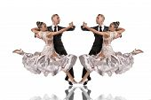 Beautiful Ballroom Dance Couple In A Dance Pose Isolated On White Background. Sensual Professional D poster