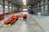 Large, Spacious And Light Assembly Shop. Manufacture Of Agricultural Machinery. poster