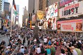 NEW YORK CITY - SEPTEMBER 4: Pedestrian malls full of crowds on a summer Saturday afternoon in Times