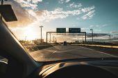 Car Interior When Driving On A Highway In Denmark In Direction Kopenhagen poster