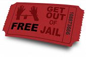stock photo of lockups  - Free get out of jail coupon or ticket - JPG