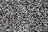 Grey Gravel Closeup Photo For Background. Sharp Gray Stones For Construction. Gravel Texture. Road O poster