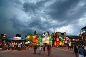 ATLANTA, GEORGIA - JUNE 16: Storm Clouds eventually lead to rain delays at Turner Field, home to the