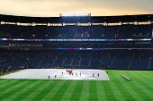 ATLANTA, GEORGIA - JUNE 16: Rain delays at Turner Field during the game between the Atlanta Braves a