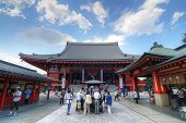 TOKYO, JAPAN - JULY 6: The Buddhist Temple Senso-ji is the symbol of Asakusa and one of the most fam
