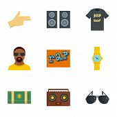 Urban Rap Icon Set. Flat Set Of 9 Urban Rap Icons For Web Design poster