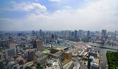 View of Shiome and Sumida River in Tokyo, Japan.