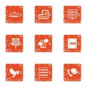 Delivery Of Post Icons Set. Grunge Set Of 9 Delivery Of Post Icons For Web Isolated On White Backgro poster