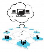 stock photo of computer-screen  - Cloud computing concept design - JPG