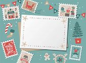 Festive Christmas Border, Frame, Card With Christmas Tree And Festive Decorations Garland, Sock, Sta poster