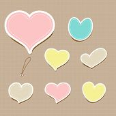 Vector set of vintage cute frames in heart shape