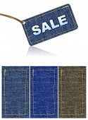 jeans sale tag discount. background