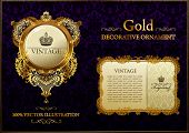 gold vitnage frame ornament vector illustration