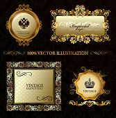 Glamour vintage gold frame decorative background. Vector illustration