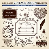 calligraphic elements vintage ornament set. Happy valentine day vector