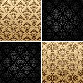 seamless set four vintage backgrounds ornament wallpaper retro