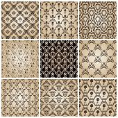 seamless vintage backgrounds set brown baroque wallpaper. Vector set