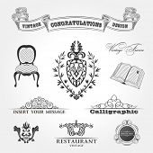 Elements vintage. Chair ribbon book. Vector ornament set