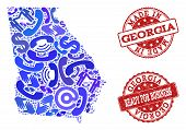 Business Contacts Collage Of Blue Mosaic Map Of Georgia State And Scratched Seal Stamps. Vector Red  poster