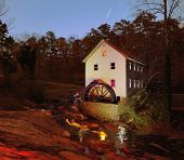 grist mill at night