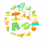 Sea Rest Icons Set. Cartoon Illustration Of 16 Sea Rest Icons For Web poster