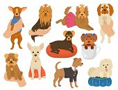 Small Dog Vector A Little Doggy Pet Character Cute Dog-collar Animal And Domestic Young Puppy On Han poster