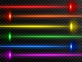 Laser Beam Set. Colorful Rainbow Laser Beam Collection Isolated On Transparent Background. Neon Line poster