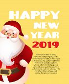 Happy New Year With Cartoon Santa Claus Yellow Banner Design. Inscription With Cartoon Character Of  poster