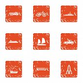 Heavy Engineering Icons Set. Grunge Set Of 9 Heavy Engineering Vector Icons For Web Isolated On Whit poster